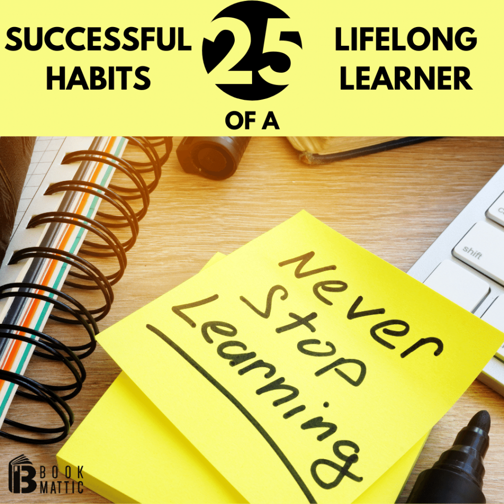 habits of a successful lifelong learner post-it note on desk